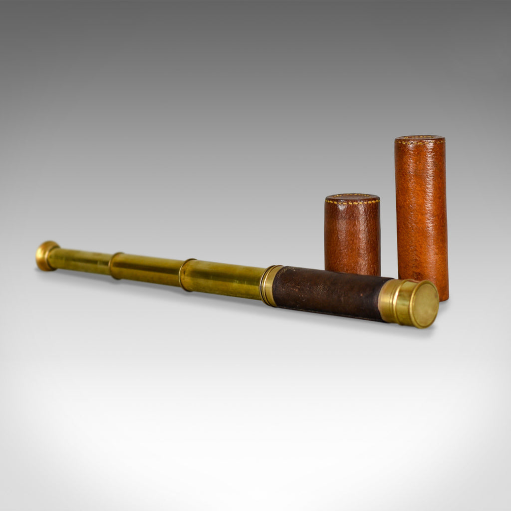 Antique Telescope, Three Draw Pocket Refractor in Leather Case, Circa 1880