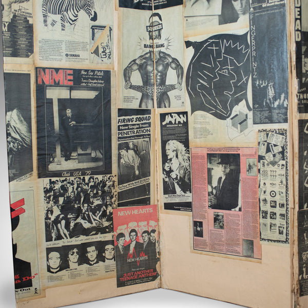 Antique Three Fold Screen, Victorian Pasted with 1970s Music Scraps, Punk, Metal - London Fine Antiques