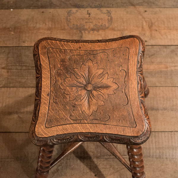 Victorian Turned Oak Stool, c.1880 - London Fine Antiques - 4