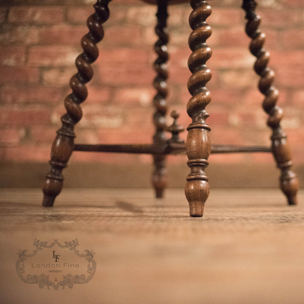 Victorian Turned Oak Stool, c.1880 - London Fine Antiques - 6