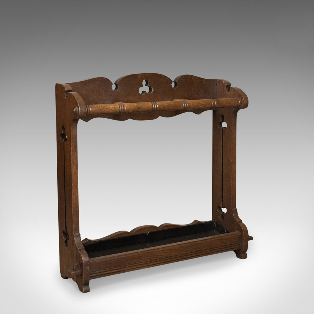 Antique Umbrella Stand, Arts and Crafts Stick Stand, English, Oak, Circa 1890 - London Fine Antiques