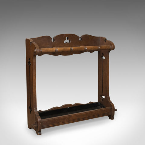 Antique Umbrella Stand, Arts and Crafts Stick Stand, English, Oak, Circa 1890