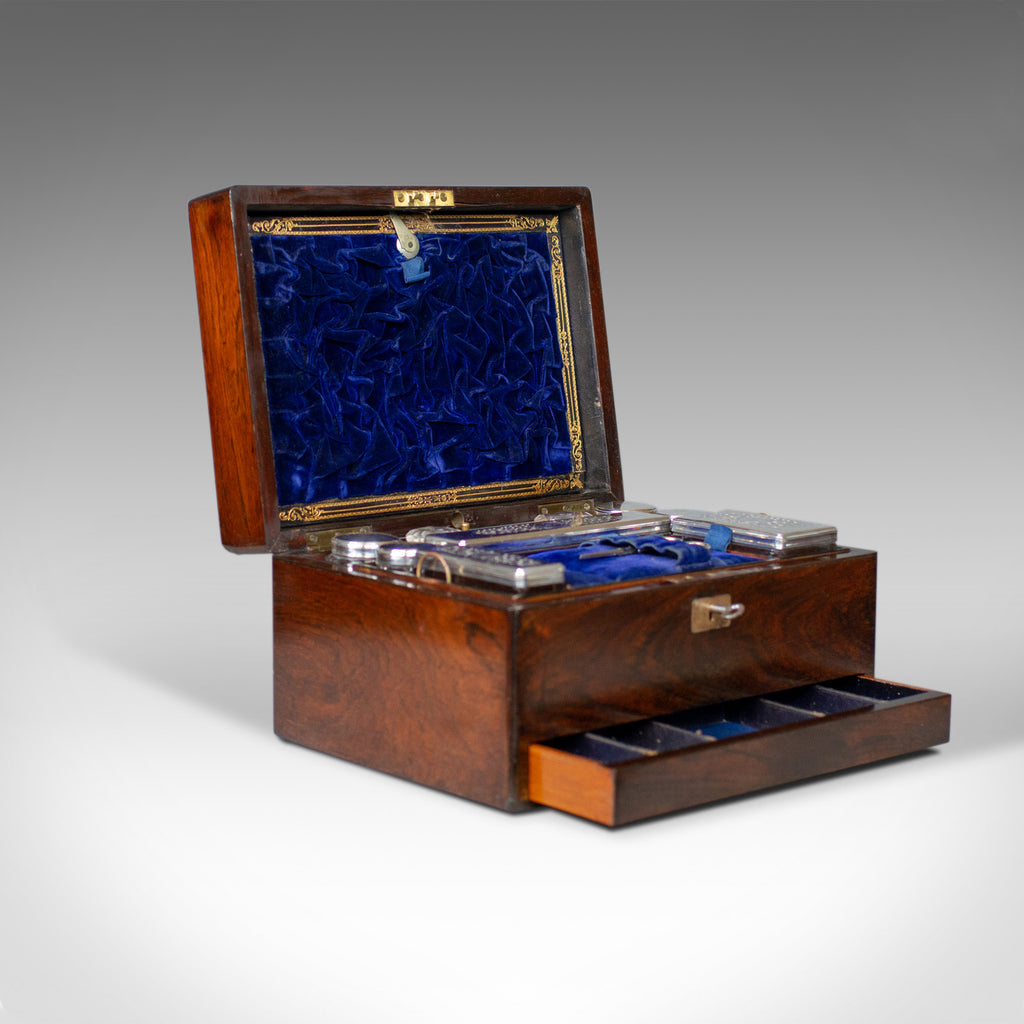Antique Vanity Box, English, Victorian, Travelling Case, Rosewood, Circa 1850 - London Fine Antiques