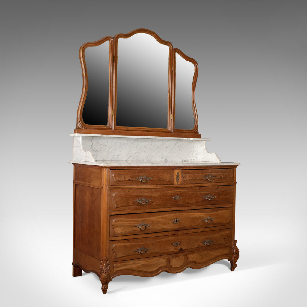 Antique Vanity Chest of Drawers, French, Marble Top, Mirror Back, Mahogany c1880 - London Fine Antiques