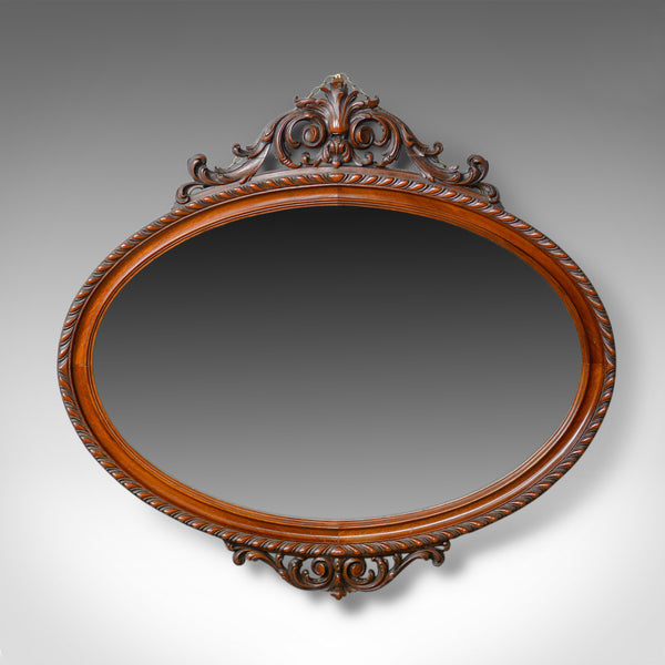 Antique Wall Mirror, Edwardian, Ovular, Carved Walnut, C20th, Circa 1910 - London Fine Antiques