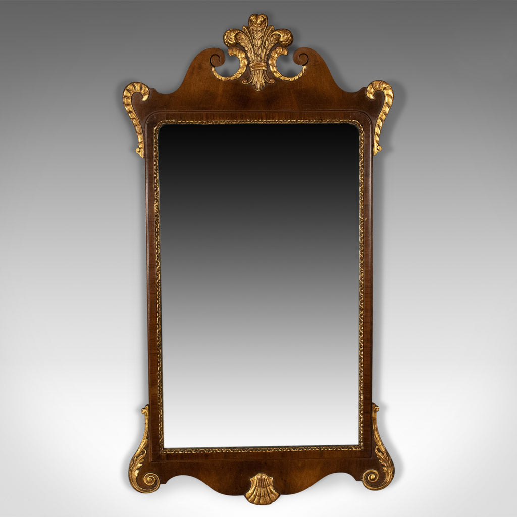 Antique Wall Mirror, English, Victorian Vanity, Walnut, Gilded Decoration c1880