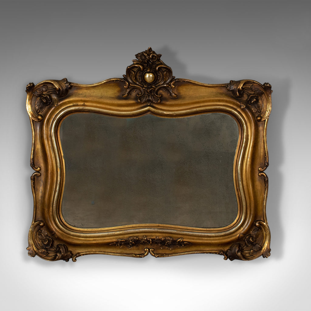 Antique Wall Mirror, Mid-Sized, Italian, Gilt Frame, Vanity, 19th Century c.1900
