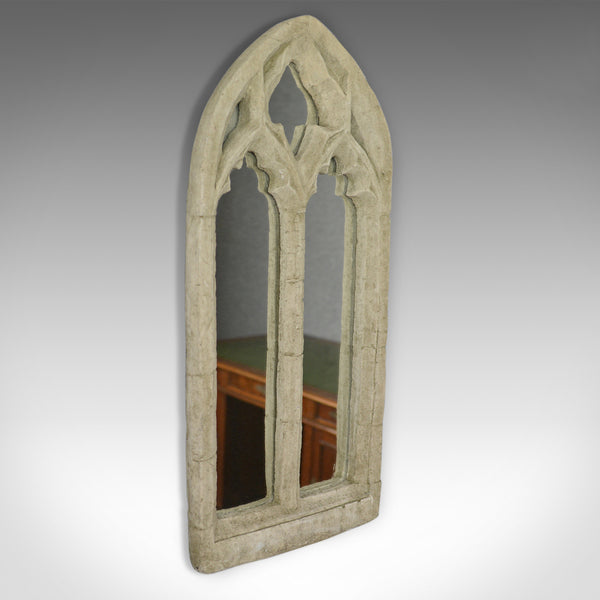 Vintage Wall Mirror, Pugin-esque, Gothic Revival, Stone, Ecclesiastical, C20th - London Fine Antiques