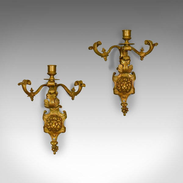 Antique Wall Sconces, English, Victorian, Gilt Metal, Candle Stands, Circa 1900 - London Fine Antiques