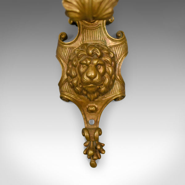 Antique Wall Sconces, English, Victorian, Gilt Metal, Candle Stands, Circa 1900