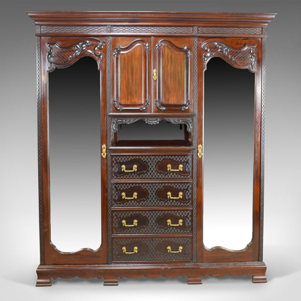 Antique Wardrobe, Carved Mahogany, English, Compactum, Edwardian Circa 1910 - London Fine Antiques