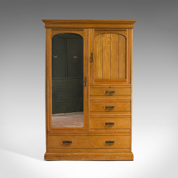 Antique Wardrobe, Howard and Sons, London, Oak, Linen Cupboard, Compactum C.1900