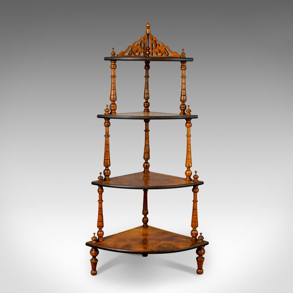 Antique Whatnot, English, Burr Walnut, Four Tier Corner Display Stand Circa 1880 - London Fine Antiques