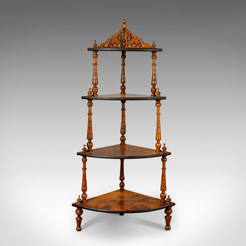 Antique Whatnot, English, Burr Walnut, Four Tier Corner Display Stand Circa 1880