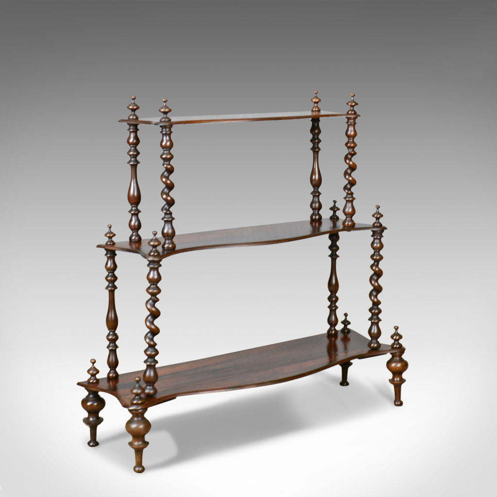 Antique Whatnot, English, Regency, Rosewood, Three Tier, Display Stand c.1820