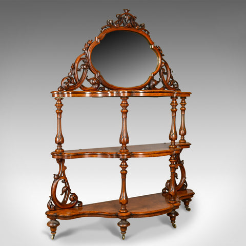 Antique Whatnot, Irish, Burr Walnut, Mirror Stand Robert Strahan & Co Circa 1840
