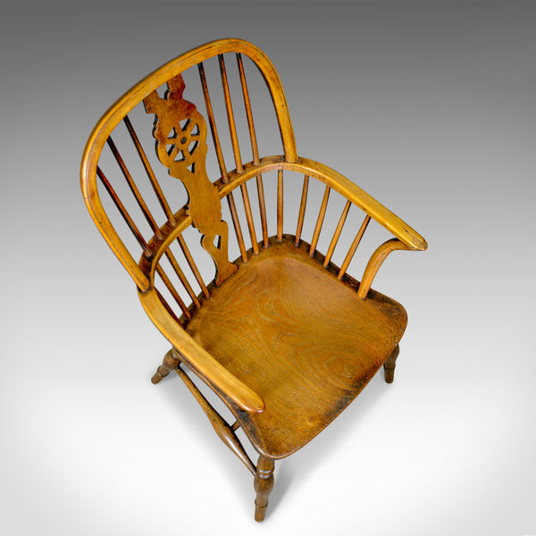Antique Windsor Armchair, English, Victorian, Country Kitchen, Stick Circa 1900
