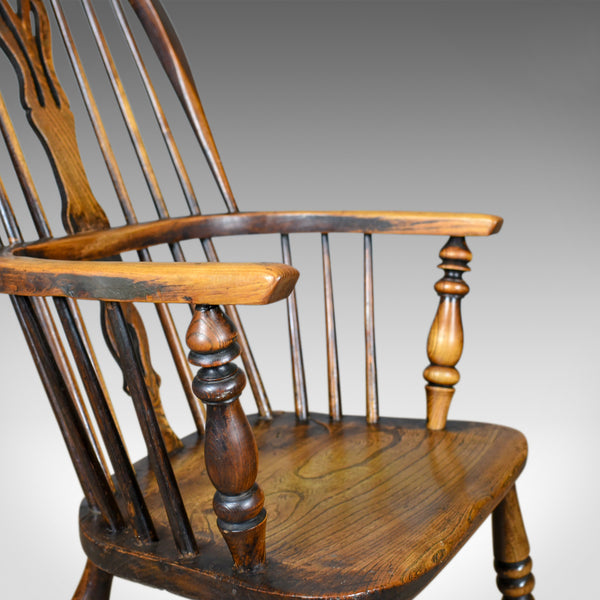 Antique Windsor Armchair, Victorian, Country Kitchen, Stick Back, Elbow c.1850 - London Fine Antiques