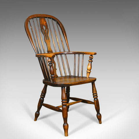 Antique Windsor Armchair, Victorian, Country Kitchen, Stick Back, Elbow c.1850