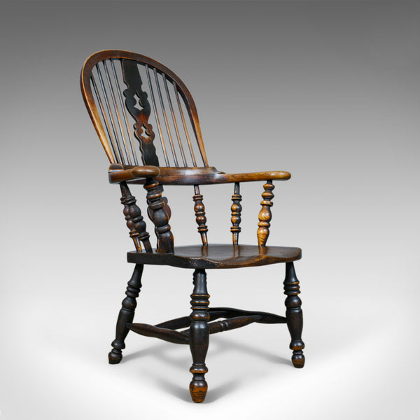 Antique Windsor Broad Arm Elbow Chair, English, Victorian, Elm, Ash, Circa 1850 - London Fine Antiques