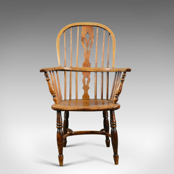 Antique Windsor Elbow Chair, Victorian Double Hoop Armchair, Elm, Ash c.1850 - London Fine Antiques