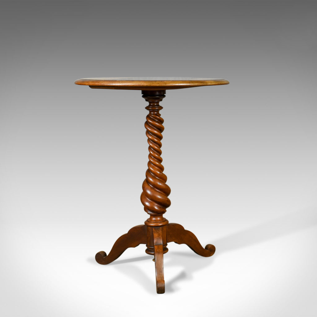 Antique Wine Table, English, Victorian, Mahogany, Tripod Side Barley Twist c1860 - London Fine Antiques