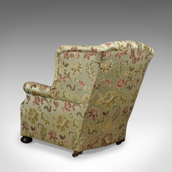 Antique Wing Back Armchair, English, Victorian, Deep, Club Chair, Circa 1900