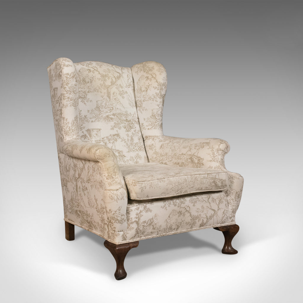 Antique Wing Back Chair, English, Victorian Armchair, Mahogany Frame, Circa 1900 - London Fine Antiques