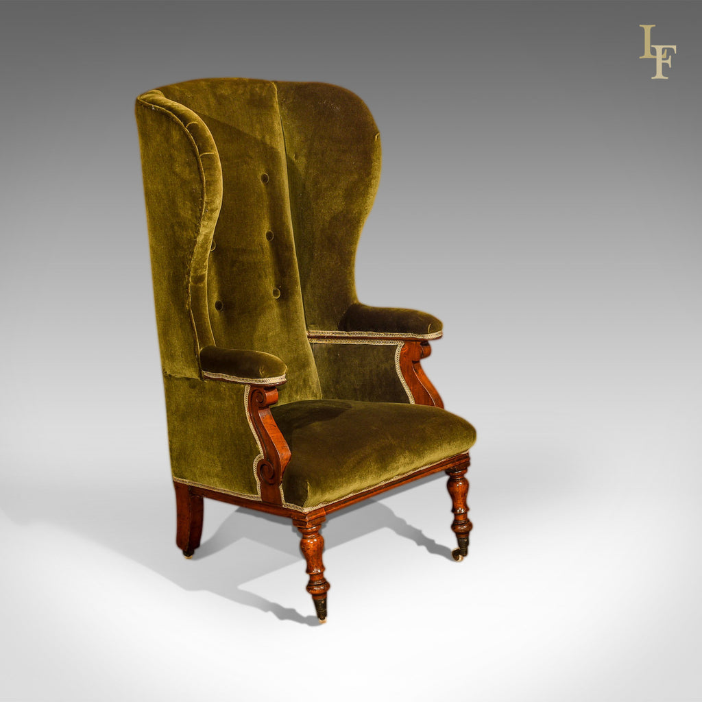 Antique Wing Back Chair, Victorian, Green Velvet c.1850 - London Fine  Antiques - Antique Wing Back Chair, Victorian, Green Velvet C.1850 – London