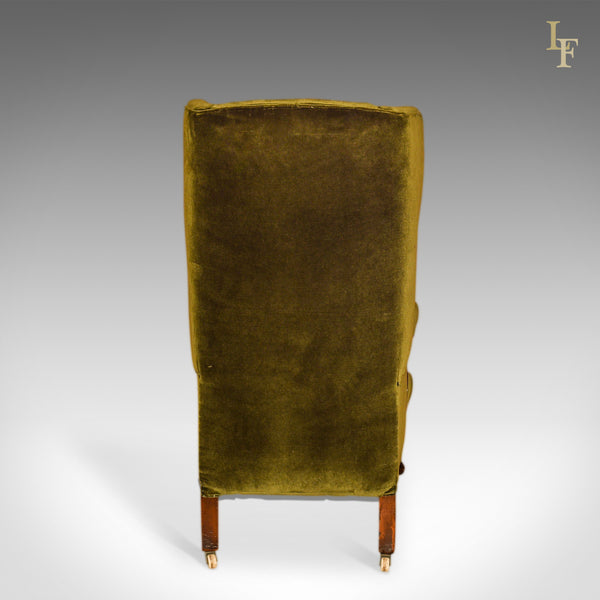 Antique Wing Back Chair, Victorian, Green Velvet c.1850 - London Fine Antiques