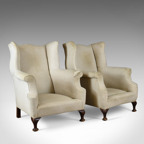 Antique Wing Back Chairs, English, Victorian Armchairs for Upholstery Circa 1890
