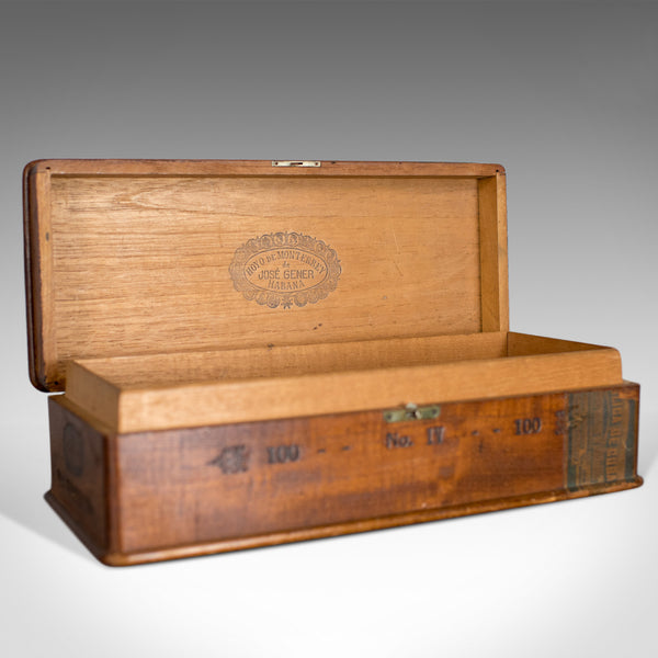 Antique Wooden Cigar Box, Hoyo de Monterrey, Havana, Habana, Humidor, c.1920 - London Fine Antiques