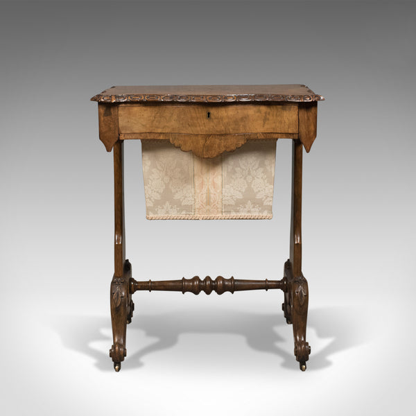 Antique Work Table, English, Victorian, Burr Walnut Sewing Companion Circa 1860 - London Fine Antiques