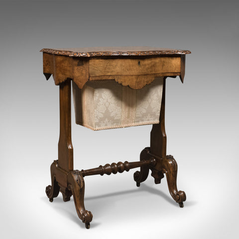 Antique Work Table, English, Victorian, Burr Walnut Sewing Companion Circa 1860