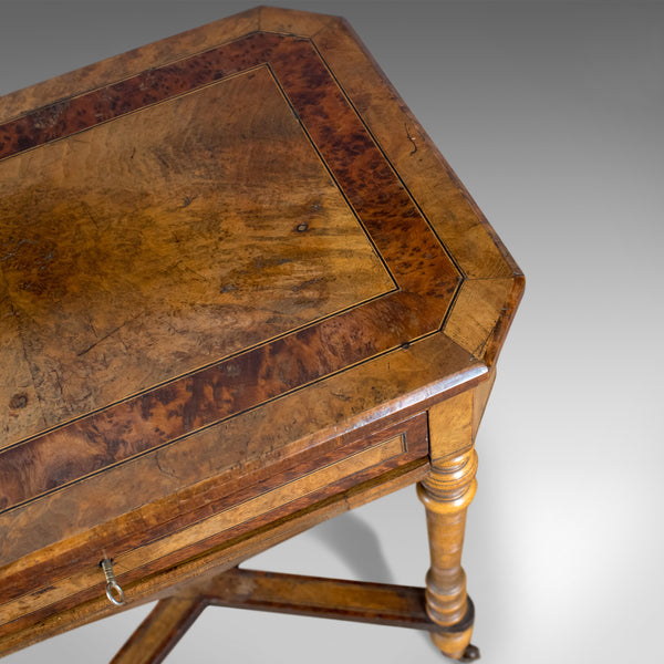 Antique Work Table, Regency, Sewing, English, Burr Walnut, Amboyna, Circa 1820