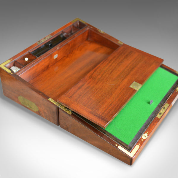 Antique Writing Slope, Bramah Lock, English, Regency, Mechi London, c.1830