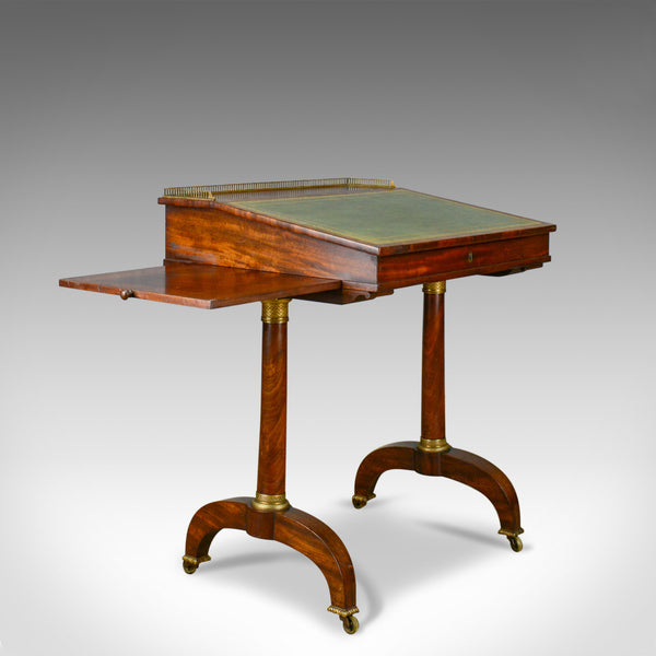 Antique Writing Table, English, Regency, Mahogany, Davenport, Circa 1820