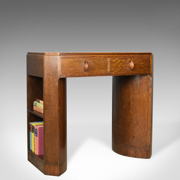 Art Deco Kneehole Writing Desk, English Oak, Leather, Circa 1930 - London Fine Antiques