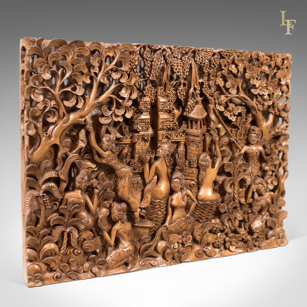 Balinese Carved Wall Panel, Mid-Century Decorative Art - London Fine Antiques