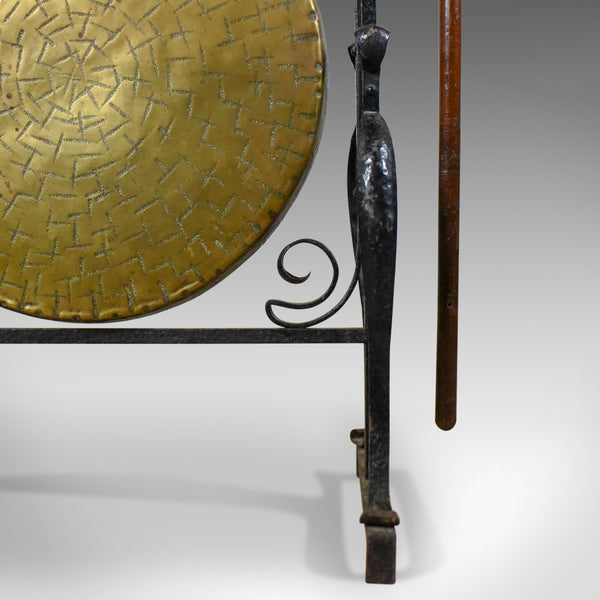 Large Bronze Antique Dinner Gong in Iron Frame, Art Nouveau, Circa 1920