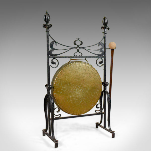 Large Bronze Antique Dinner Gong in Iron Frame, Art Nouveau, Circa 1920 - London Fine Antiques