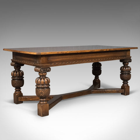 17th Century Revival Refectory Table, Country Kitchen Dining, 20th Century