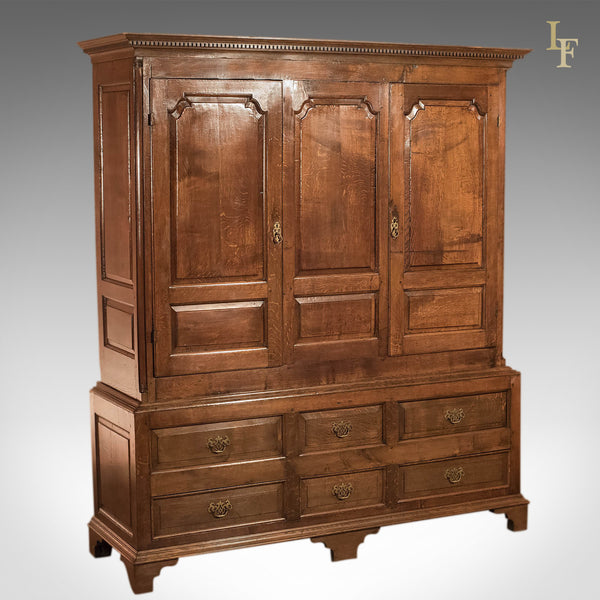 Georgian Antique Wardrobe, English Oak c1800 - London Fine Antiques
