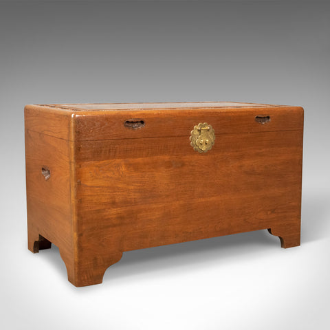Camphor Wood Chest, Oriental Trunk, Art Deco Period, Circa 1940