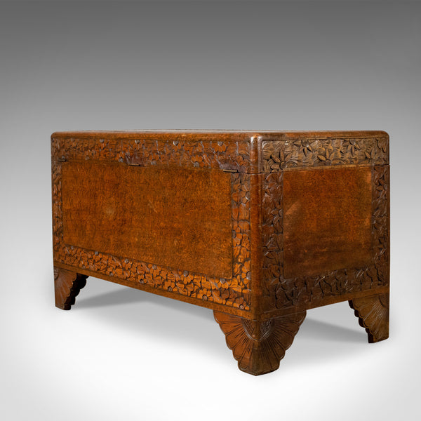 Camphor Wood Trunk, Oriental, Carved, Chest, Art Deco, Circa 1940