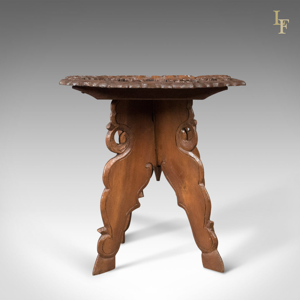 Carved Teak Campaign Side Table, Mid-Century - London Fine Antiques