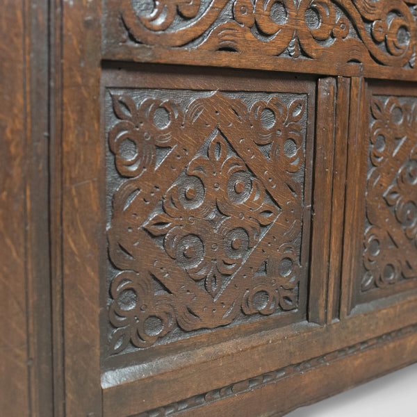Carved Antique Coffer, English Oak Joined Chest, Trunk, c.1700 - London Fine Antiques
