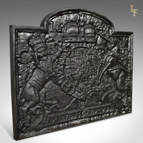 Cast Iron Fire Back, Late 20th Century, Royal Crest