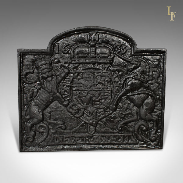 Cast Iron Fire Back, Late 20th Century, Royal Crest - London Fine Antiques