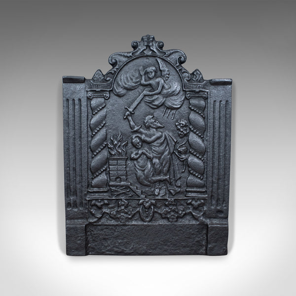 Cast Iron Fire Back, 17th Century Revival, Plate, Devil Angel, Late 20th Century